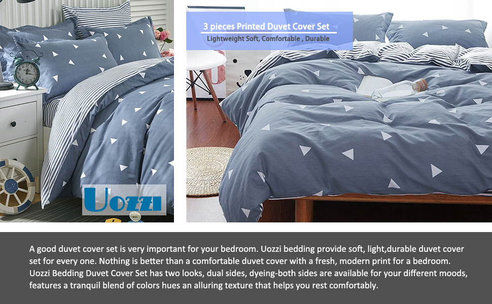 Uozzi Bedding 3 Piece Duvet Cover Set Queen/Full, Reversible Printing with Brushed Microfiber Gray Queen