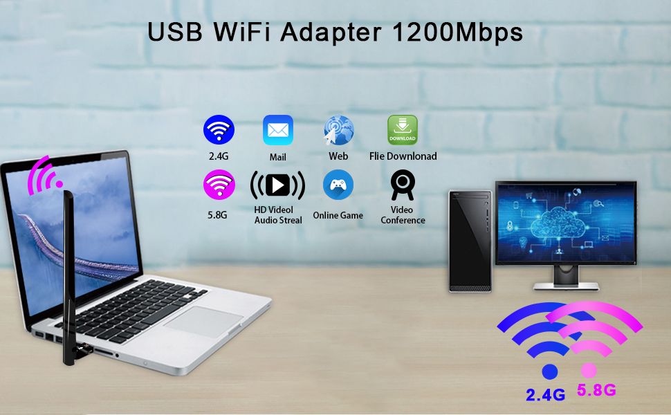 wifi adapter for pc 1200mbps