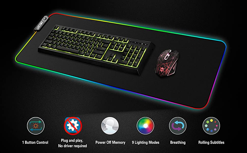 Oversized Glowing Led Extended Mousepad LUXCOMS RGB Soft Gaming Mouse Pad Large