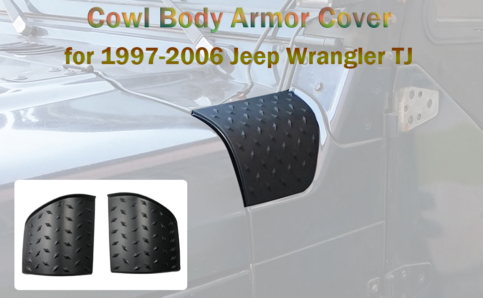 Godyluck Cowl Body Armor Corner Guard Cowling Cover for Jeep Wrangler TJ 1997-2006