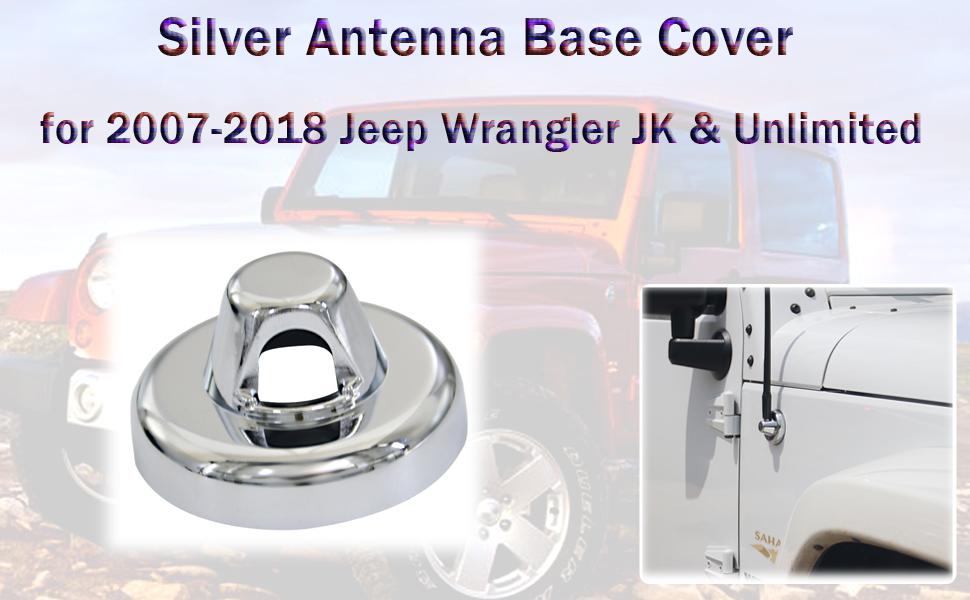 AVOMAR Radio Antenna Decoration Antenna Base Cover Trim for 2007-2017 Jeep Wrangler JK Black