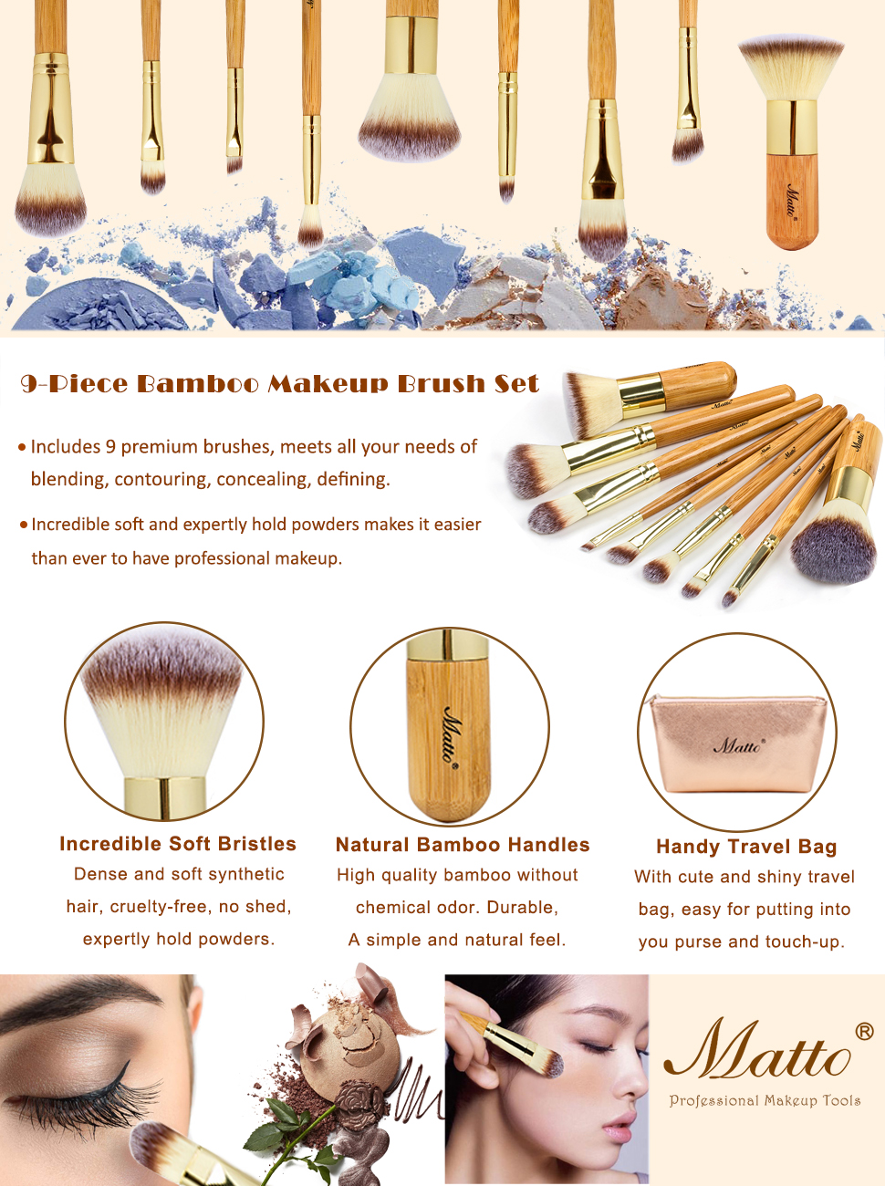 Bamboo Makeup Brushes: Amazon.com: Matto 9-Piece Bamboo Makeup Brush Set With