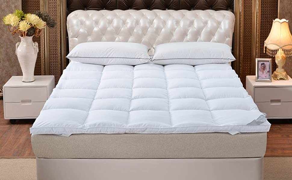 Quality Plush Luxury Down Alternative Pillow Top /2inch Extra Thick Mattress Cover(54/'/'75/'/' SUFUEE Mattress Topper Full /& Mattress Pad Protector