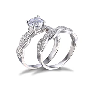 this infinity love forever sterling silver 925 engagement wedding ring bridal set these rings are set with beautiful high quality lab created stones - Infinity Wedding Rings