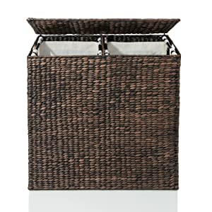 Plastic laundry baskets might be cheap but they can be an eyesore around your home. Neatly hide away your laundry in this stylish designer hand woven ...  sc 1 st  Amazon.com & Amazon.com: Designer Wicker Laundry Hamper with Divided Interior and ...