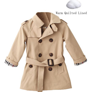 e8d14775d Amazon.com  Mallimoda Girls Boys British Cotton Blend Trench Coat ...