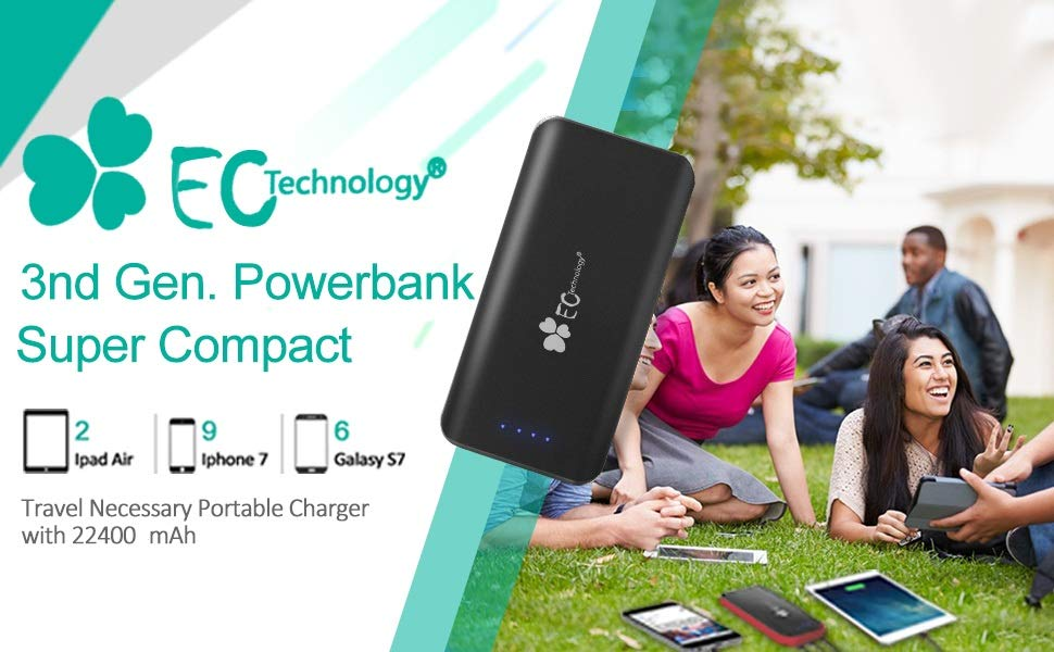 EC Technology Portable Charger 22400mAh Power Bank High Speed Charging 3 USB Port External Cell Phone Battery Pack with Auto IC and Flashlight for