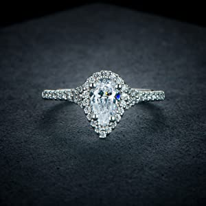 Petite Micropave Floating Halo Simulated Diamond CZ Micropave Floating Halo Wedding Engagement Ring