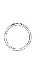 Rhodium Plated Sterling Silver Petite Simulated Diamond Cubic Zirconia Eternity Wedding Ring