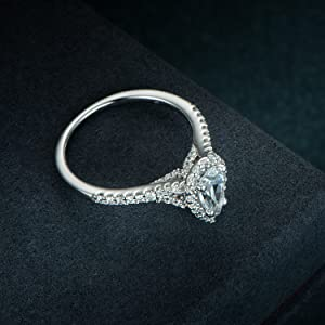 Pear Cut Petite Micropave Floating Halo Floating Halo Wedding Engagement Ring