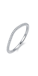 Rhodium Plated Sterling Silver Petite Simulated Diamond Cubic Zirconia Shape Curved Half Eternity