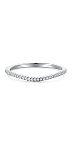 Sterling Silver Petite Simulated Diamond Cubic Zirconia CZ V Shape Curved Half Eternity Wedding Ring