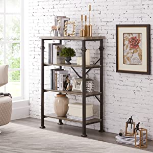 wood and metal bookcase for living room