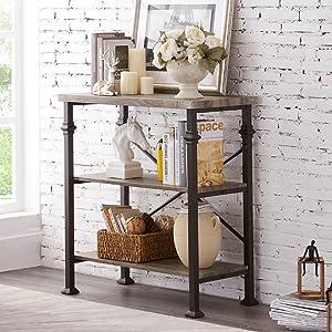 industrial small 3-tier bookcase bookshelf