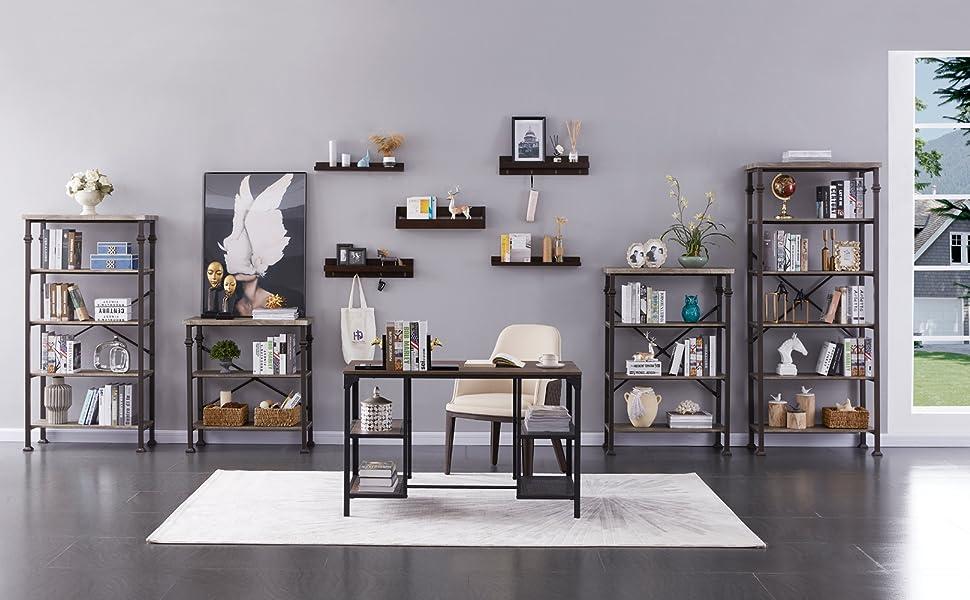 modern industrial 4-tier bookcase
