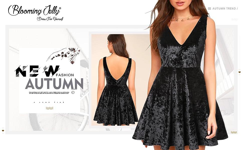 Amazon.com  Blooming Jelly Womens Deep V Neck Backless Mini Velvet ... 604f942458cb