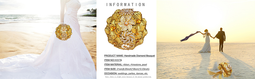 Gold Diamond Bouquet Gold Satin Wedding Bouquet Bride Holding Flower Gold Bling Rhinestone Bouquet