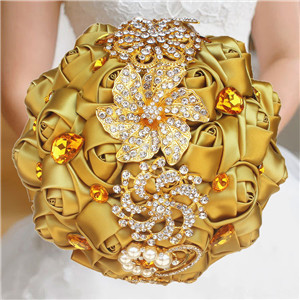 Bride Brooch Bouquet Gold Color Satin Bouquet Wedding Silk Holding Flowers Gold Diamond Jeweled