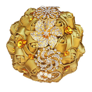 Gold Wedding Bouquet Gold Diamond Bouquet Silk Rose Beaded Bouquet for Bridesmaid Jeweled Flowers
