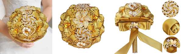 Gold Diamond Brooch Bouquet Satin Rhinestone Wedding Bouquet New Gold Crystal Beaded Bouquet New