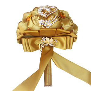 Gold Brooch Bouquet Wedding Bride Brooch Bouquet New Bouquet Big Diamond Flowers Crystal Pearl