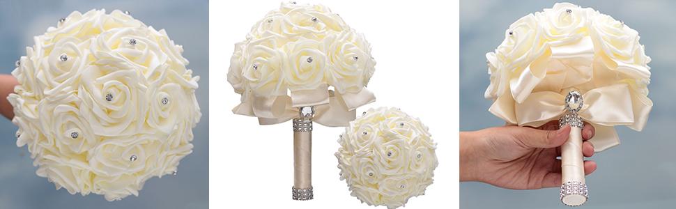 Ivory Bridal Artificial Flowers for Wedding Bridal Bridesmaid Hand Bouquet Handmade Wedding Bouquet