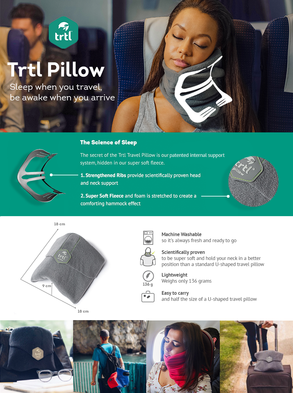 Amazon Com Trtl Pillow Scientifically Proven Super Soft