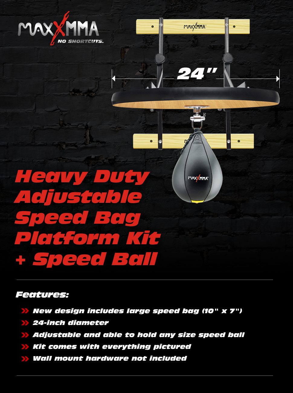 "Details about  /MaxxMMA Heavy Duty Adjustable Speed Bag Platform Kit 24/"" Speed Ball 10/"" x 7/"""