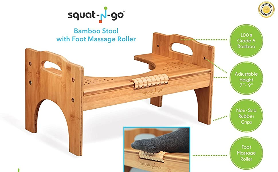 Remarkable Squat N Go 7 Or 9 Adjustable Bamboo Luxury Squatting Toilet Stool With Built In Foot Massager To Boost Blood Circulation Evergreenethics Interior Chair Design Evergreenethicsorg