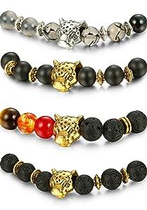 5b30fd8b28 FIBO STEEL 1-4 Pcs Lava Bead Bracelet for Men Women Leopard Head bracelet  Set