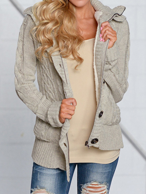 Lovaru Womens Hooded Cable Knit Button Down Cardigan Fleece Sweater