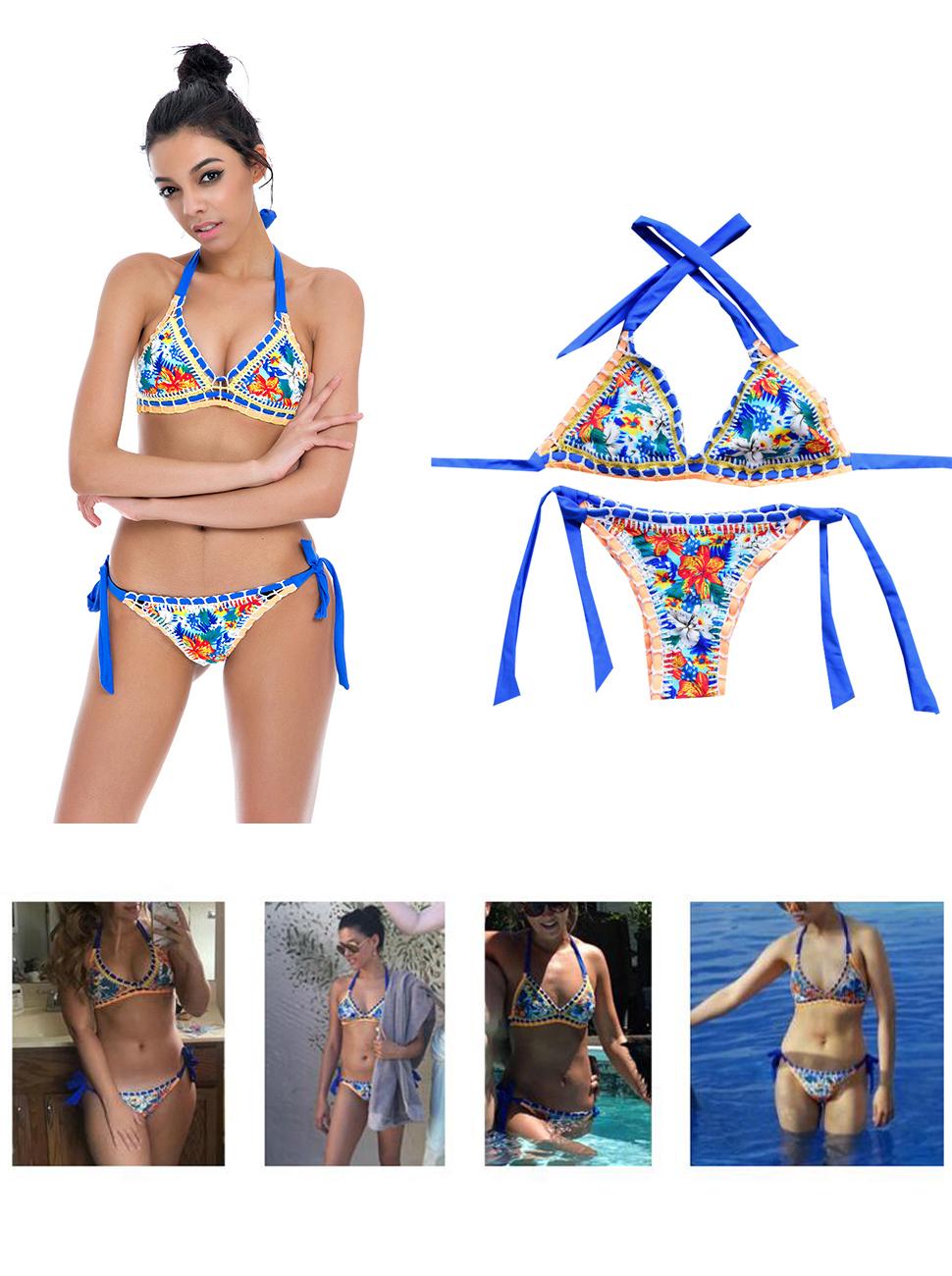 b43b86722ef Amazon.com: Sherry007 Sexy Handmade Crochet Bikini Swimsuit Triangle ...