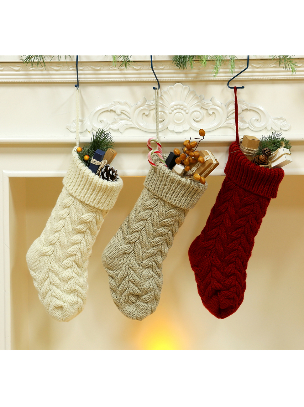 Amazon.com: SherryDC Crochet Cable Knit Christmas Stockings 15 ...
