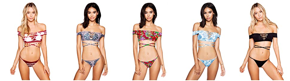 dcd79467419 Sherry007 Women's Off Shoulder Strapless Bandeau Top Brazilian Bottom  Swimsuit Bikini Set