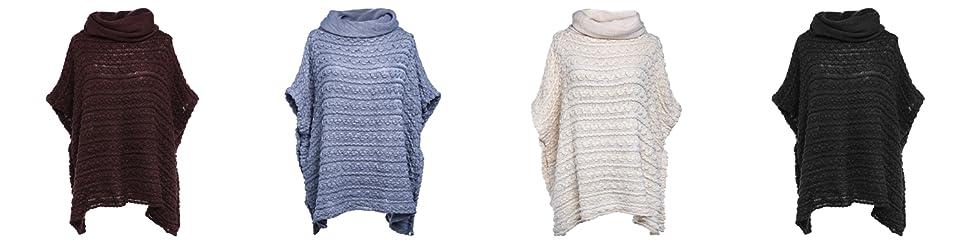 SherryDC Women's Turtleneck Crochet Loose Knit Short Sleeve Chunky Pullover  Poncho Sweater