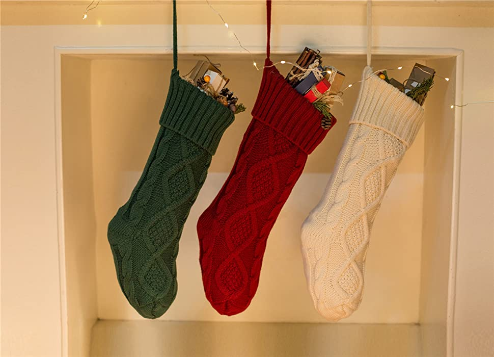 Amazon.com: SherryDC Crochet Cable Knit Christmas Stockings Hanging ...