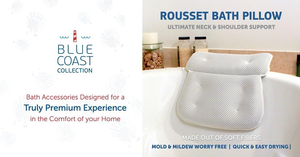 Blue Coast Collection–Bath Pillow for Tub with Konjac Sponge–Large ...
