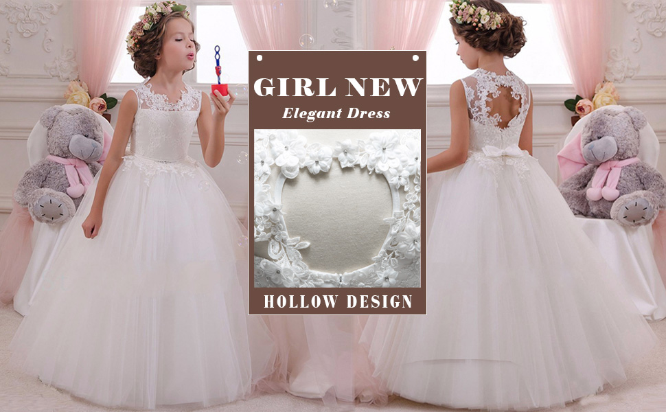 LZH Girls Party Dress Princess White Wedding Lace Dresses