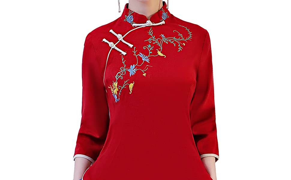 Smeiling Women Chinese Style Breathable Embroidered Linen Pullover Blouses