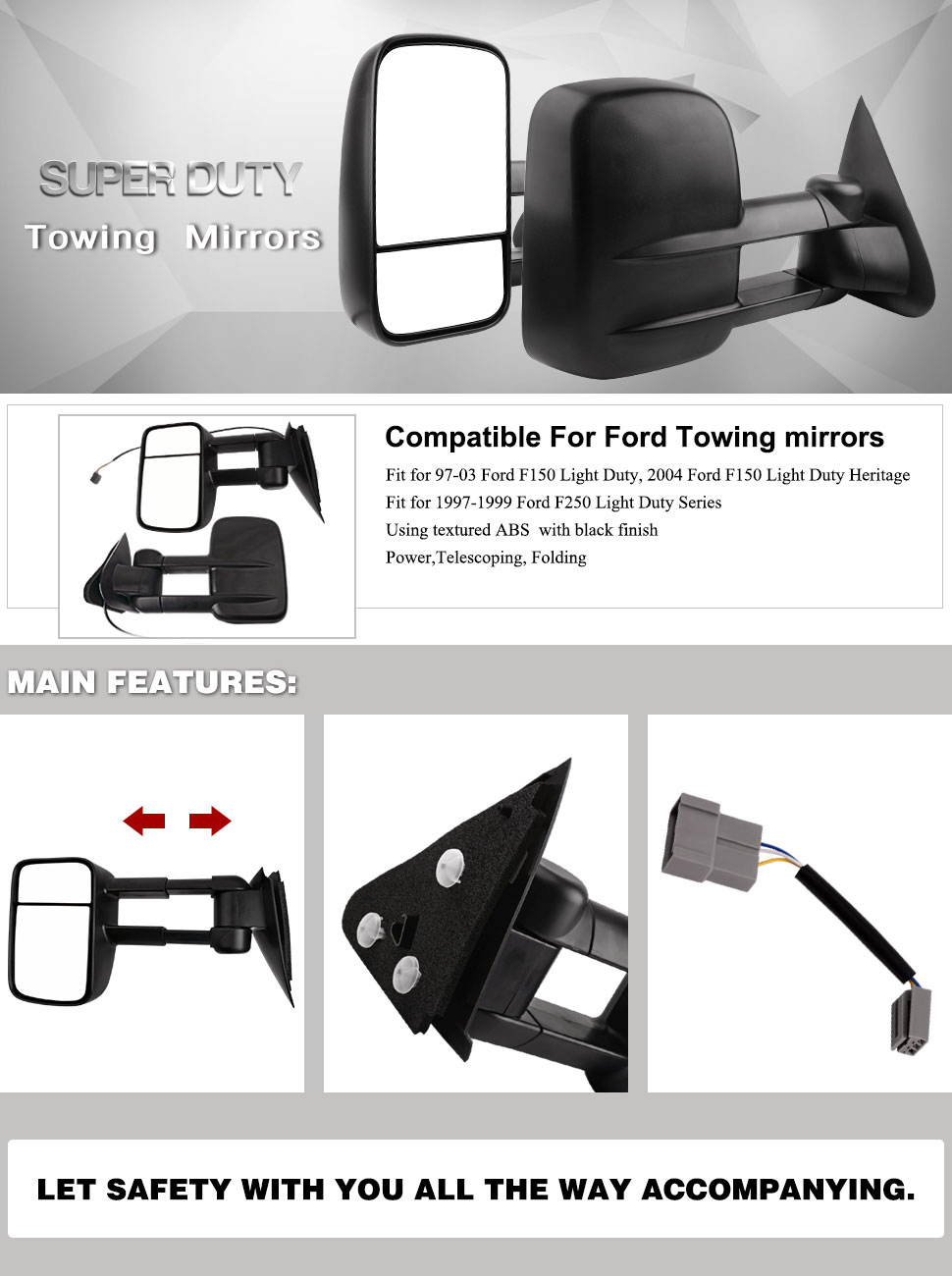 Yitamotor Power Towing Mirrors For 1997 2003 Ford F 150 Trailer Light Wiring Diagram 2004 Heritage