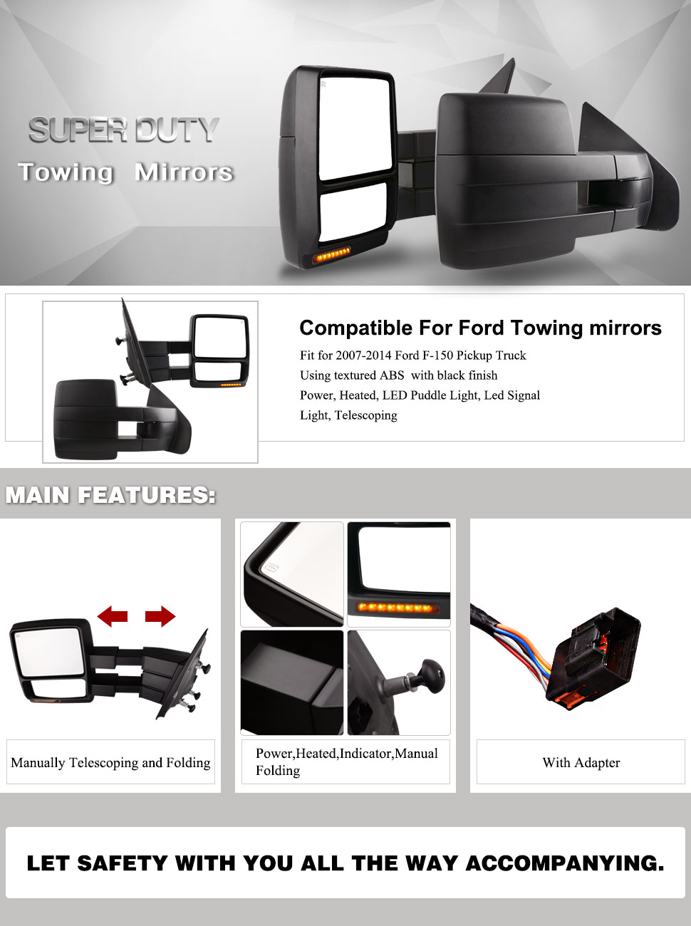 Towing Mirrors For Ford F Pair Set