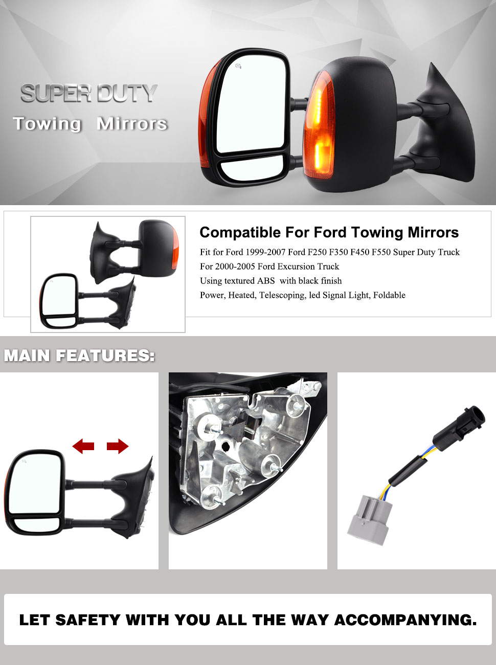 Yitamotor Towing Mirrors For 99 07 Ford F250 F350 F450 Mirror 2000 Wiring F550 Super Duty 00