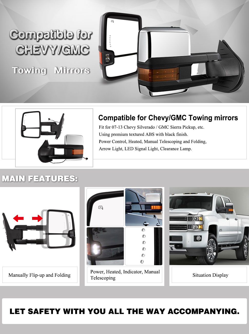 Chevy Silverado GMC Sierra Truck Chrome Power Heated Signal + Arrow +  Clearance Lamps Towing Mirrors