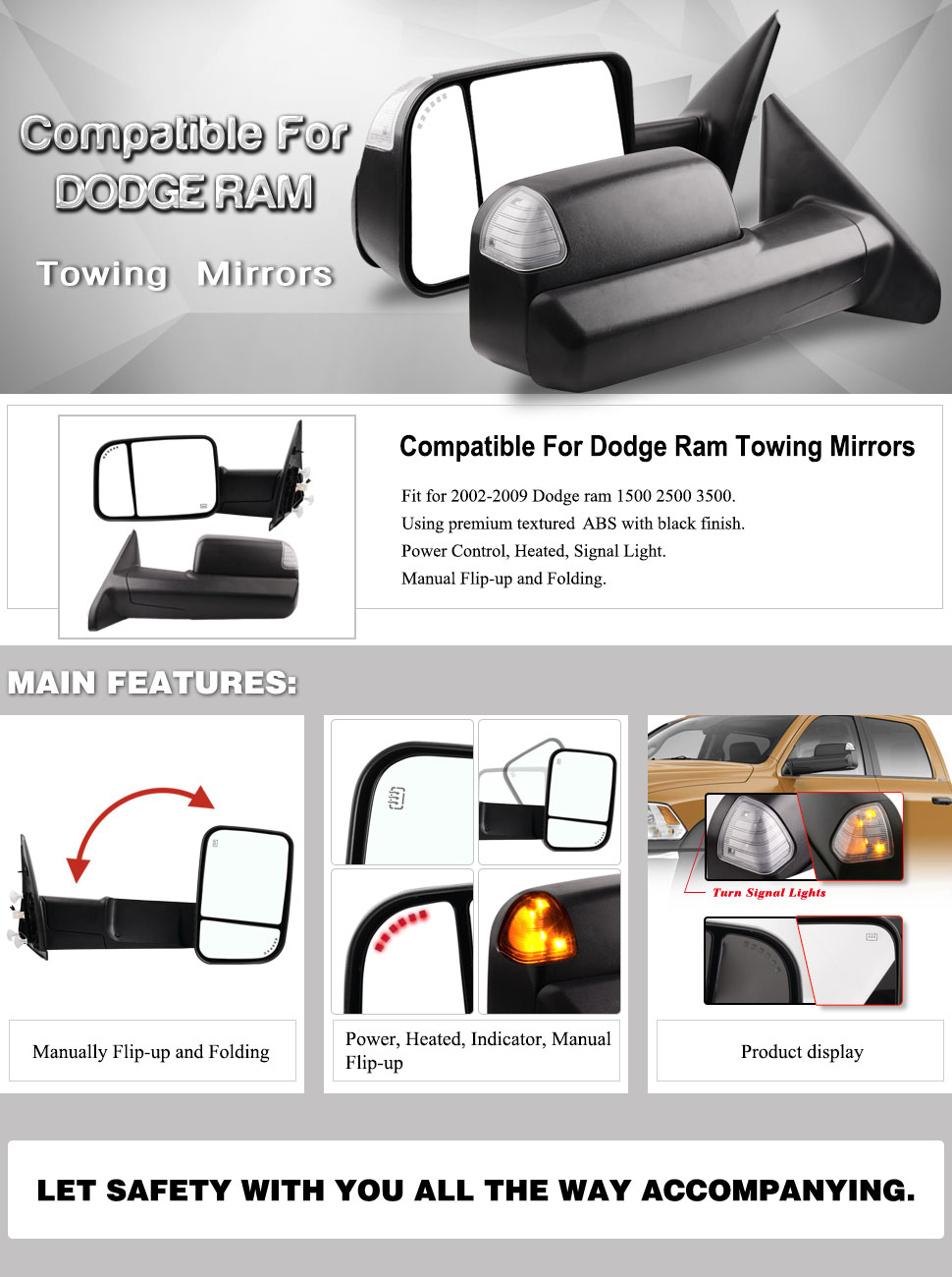 Towing Mirrors Compatible for Dodge Ram, YITAMOTOR Power Heated Arrow on