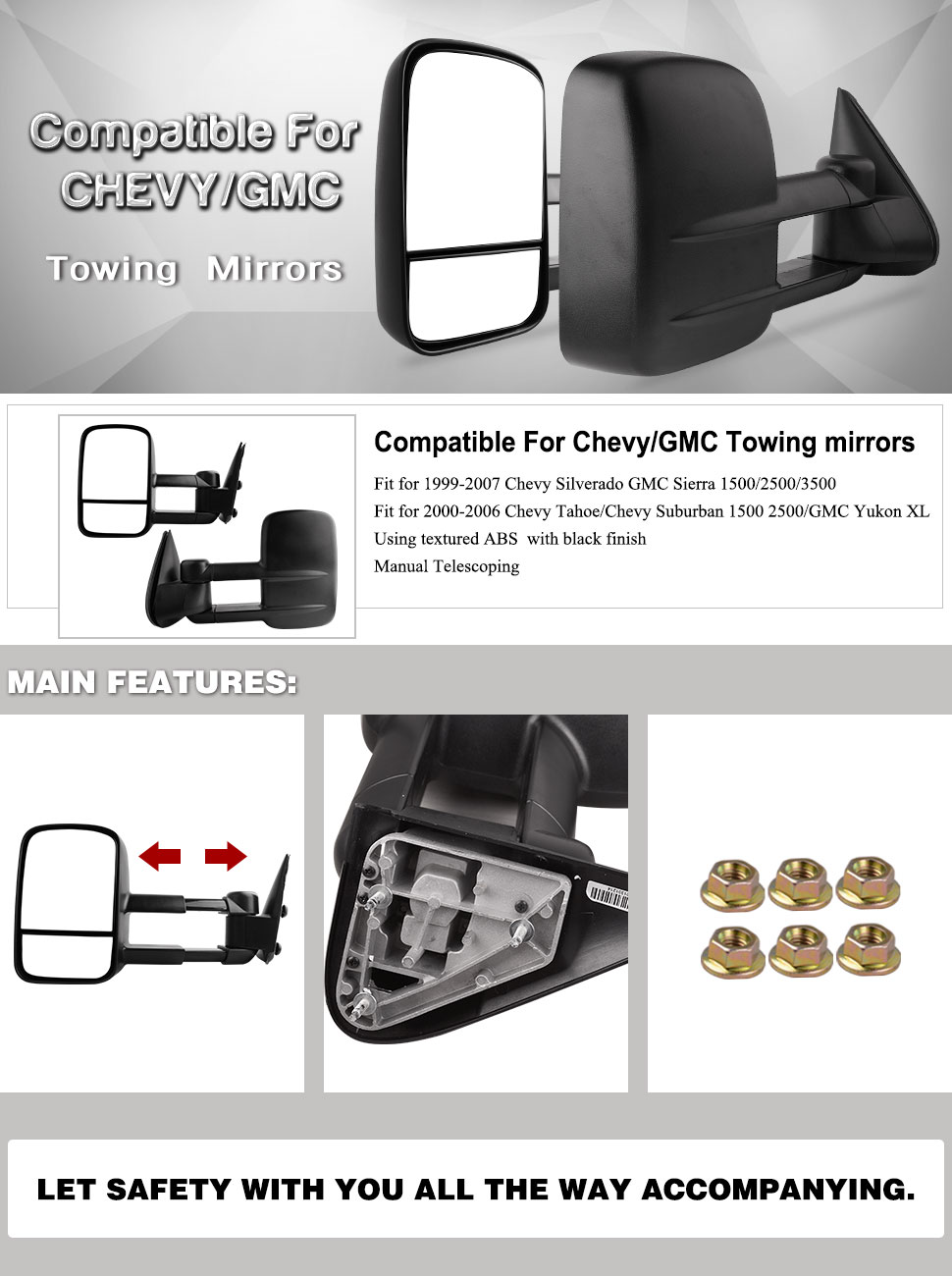 Yitamotor Towing Mirrors For Chevy Gmc Manual No Heated 2007 Silverado Trailer Ke Wiring Diagram Tow 99 06 Sierra Truck