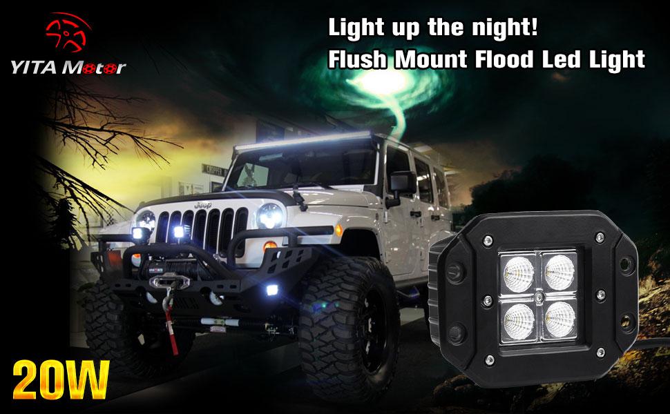Amazon Com Flush Mount Led Light Bar Yitamotor 4pcs 20w