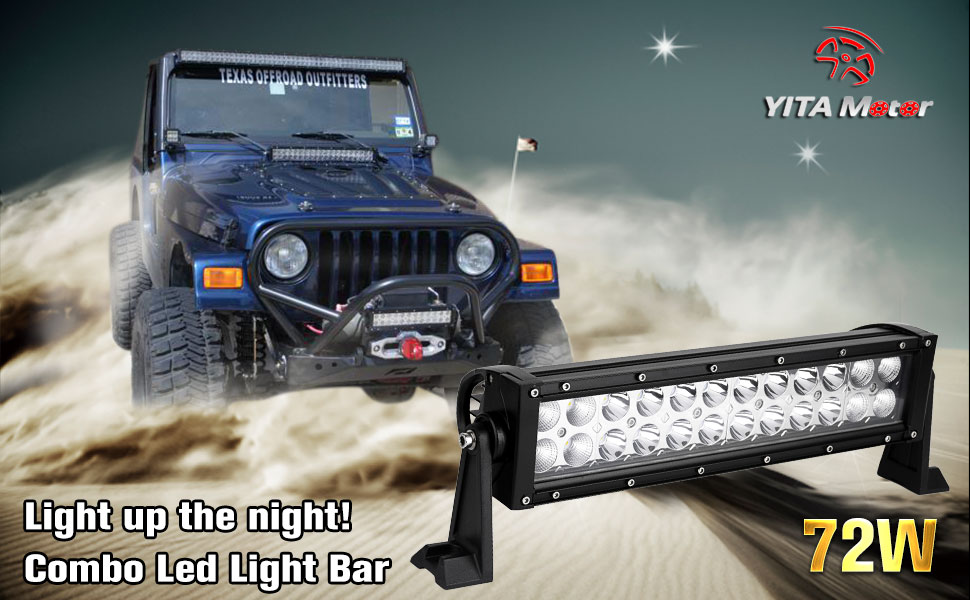 Amazon yitamotor led light bar14inch 72w spot flood combo led light up the night with yitamotor 14 72w combo offroad led light the durable led work light is waterproof and shock resistant a black painted aloadofball