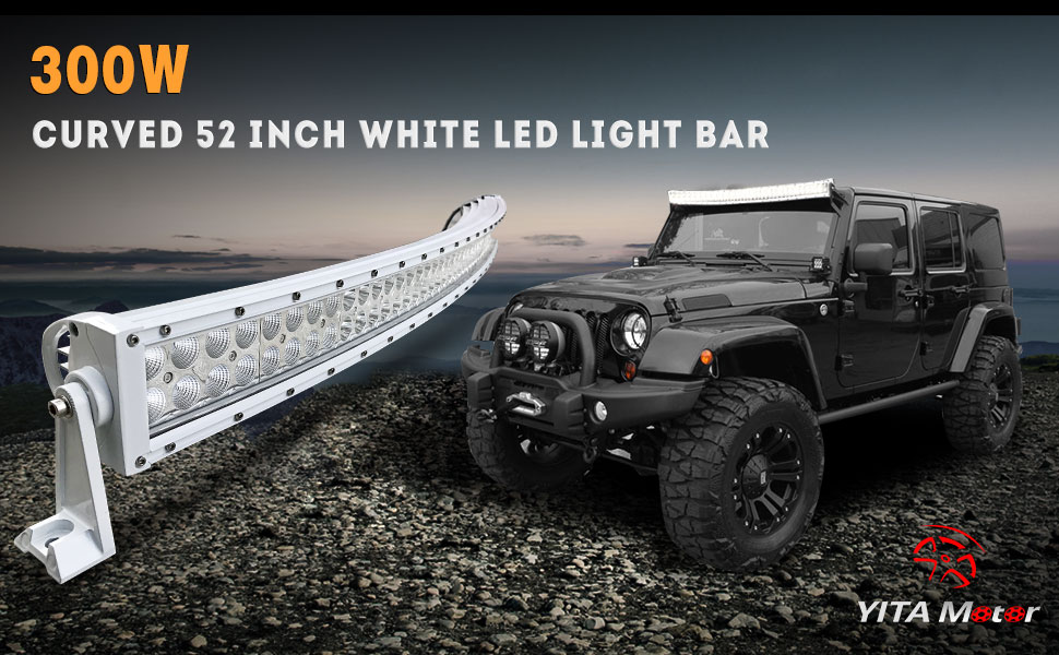 Amazon yitamotor 52 inch white curved led light bar 300w spot brighten the trails with the yitamotor curved white 52 inch offroad light bare latest white shell led light bar for your special taste mozeypictures Images