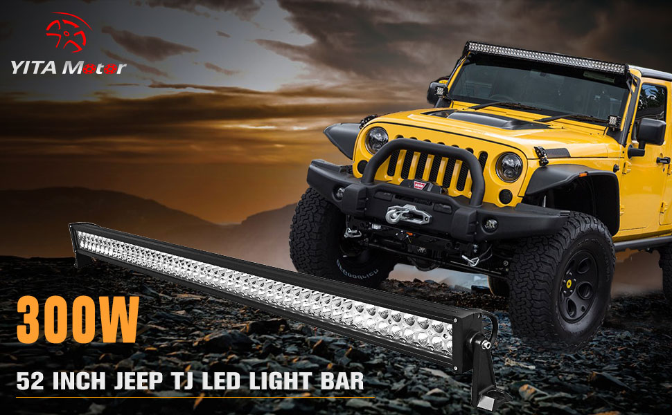 Amazon yitamotor 52 inch led light bar spot flood combo brighten the trails with the yitamotor 52 inch led bar for jeep tj its the latest designed offroad heavy duty led work light with high intensity leds in mozeypictures Images