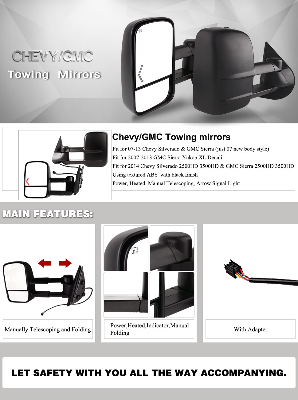 Towing Mirrors For 07 13 Chevrolet Gmc Cadillac Car Alarm Wiring Diagram 1998 Chevy Silverado Extended Cab 2500 Old Sierra Pair Set